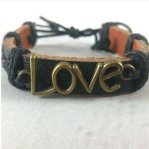 Jewelry - Leather Cuff With 'Love' Charm